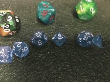 Transparent Glitter Blue White 10MM Mini Polyhedral 7-Die Roleplaying Dice