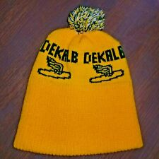 817a7fcfcb9 Vintage DEKALB SEED CORN Knit Winter Pom Pom Hat Stocking Cap 1970s RARE!