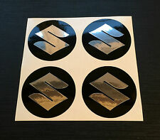 Set 4 x 45mm ALLOY WHEEL STICKERS Suzuki Chrome Effect logo centre cap badge
