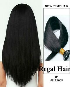 NAIL TIP/U TIP 1G #1 9Agrade HUMAN HAIR EXTENSIONS PRE BONDED REMY straight