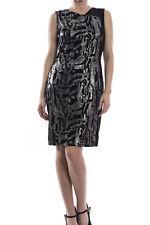 Women's Joseph Ribkoff Black/Silver Velvet  Dress Sz 16 (UK 18) New 174752
