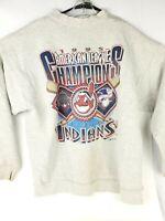 Vtg 1995 Cleveland Indians AL Champions Gray Crewneck Sweatshirt Unisex XL