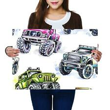 A2 | Watercolor Monster Truck Drawing Size A2 Poster Print Photo Art Gift #8186