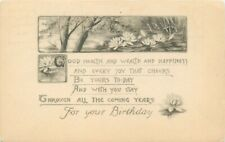 Db Postcard K043 Good Health and Wealth for Your Birthday Water Lilies Multiview