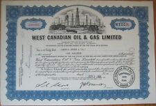 1961 Stock Certificate: 'West Canadian Oil & Gas Limited' - Calgary, Canada