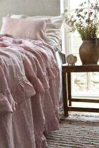 Jeanne d`Arc Living Plaid Tagesdecke rosa mit Rüschen 130x170 cm Landhaus JDL
