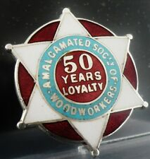 More details for sterling silver enamel badge amalgamated society of woodworkers 50 years loyalty