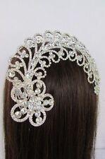 Women Silver Metal Long Fancy Flower Leaves Dressy Head Fashion Jewelry Bling