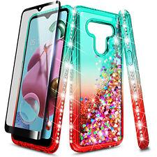 For LG Stylo 6 Case Liquid Glitter Bling Soft Phone Cover + Tempered Glass