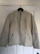 Cream Calvin Klein Mens Leather Jacket Size Small