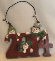 2014 Happy Snowmen Snowman in Hats Christmas Tree Ornament Resin Red Green White