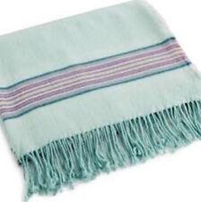 Bluebellgray Welsh Stripe Wool Blend Throw - Canal Blue 82817 - 07