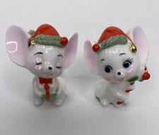 Vintage Napcoware 2 Mini Christmas Mouse Mice Figurines Gifts Candy Cane Trim