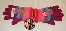 Barbie Girls Multi Coloured Stripe Acrylic Gloves Size 7 - 10 New