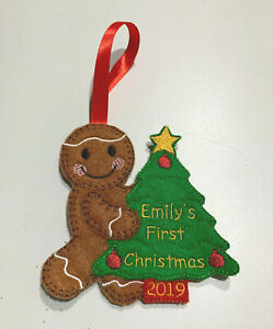 Handmade Personalised Babys 1st First Christmas Tree Decoration Gingerbread Man