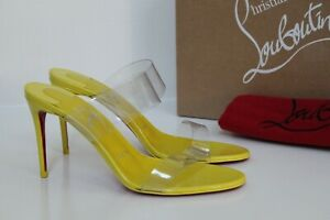 sz 7.5 / 37.5 Christian Louboutin Just Nothing 85 Yellow PVC Sandal Heel Shoes
