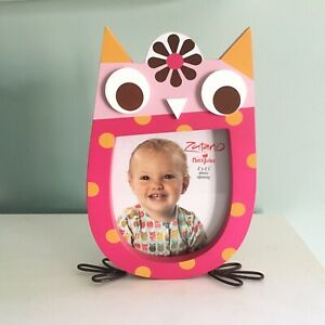 Owl Picture Frame Back Loading Free Standing Nat & Jules Pink New In Box