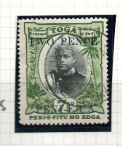 Tonga, 2d on 7 1/2d black and green, SG 65, FU, 1923 - 24