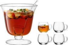 LSA Bar Punch Bowl Set - Handmade With Ladle and 4 Punch Cups.