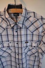 Vintage Lee blue check western short sleeve shirt in size large rockabilly