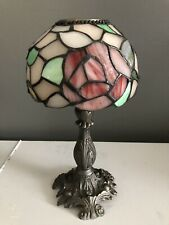 Pink & Red Roses Candle Lamp Tiffany-Style Stained Glass Tea Light Votive 10�