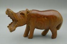 Vintage Hand Carved Wood Hippo Sculpture Wildlife Statue African Art
