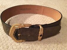 Streets Ahead Brown suede belt with ornate & heavy gold buckle size SMALL