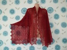Beautiful lace 100%cashmere shawl / scarf / wrap,  col: DEEP RED