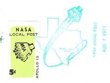 Space NASA Local Post 5c Tied Apollo 15 Completed 1971 Houston Unaddressd 5y