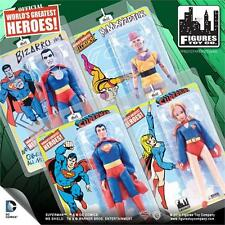 SUPERMAN RETRO MEGO; SERIES 1 & 2  FULL SETS  OF 8 INCH FIGURES MOSC NEW