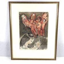 1960 Original Marc Chagall Lithograph Sara Yes Les Angels 43cm X 54cm