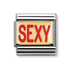 """Nomination Original Classic Stainless Steel & 18k and Enamel """"SEXY"""" Charm *NEW*"""