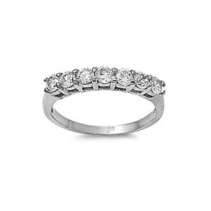 Round Cut Clear CZ Silver Tone Stainless Steel Wedding Women Ring Band