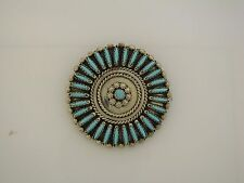 Sterling Silver & Turquoise pendant - signed NM - pin/brooch/pendant