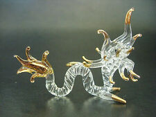 Stained Glass SERPENT, DRAGON SNAKE, Glass & Gold Painted Animal, Ornament, Gift