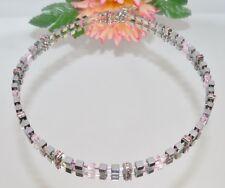 edel elegant Kette Würfel 4mm Hämatit silber glanz Kristall Strass rosa 053k
