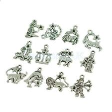 24pcs Birth Sign Zodiac Constellation Charms Tibetan Silver Making Findings