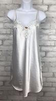 Vintage Angelique White Satin Bridal Nightie Nightgown Chemise USA Medium