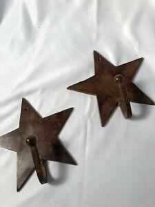 "2 Texas Star Wall Hooks Rustic Western Towel Coat Hat Drapery Metal Iron 6 1/2"""