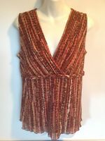 Axcess Tank  V-Neck Top, Braided Empire Waist, Brown Pink Beige, Large