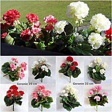 künstliche Geranie rot weiß ohne Topf Blumen Pflanze Kunstpflanzen Kunstblume
