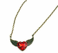 New Celebrity Red Crystal Winged Heart Angel Wing Statement Necklace Gift