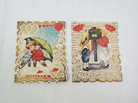 Lot of 2 Vintage Antique Die-Cut Valentine's Day Cards Girl Boy Hearts Dog Scrap