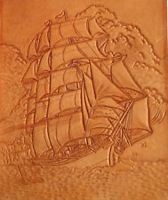 Detailed Hand Carved & Tooled 3-D Leather Sailing Ship Signed LMM Wall Art Decor