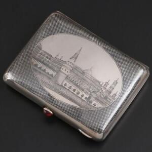Antique Imperial Pyotr Abrosimov Niello Kremlin Cigarette Case Red Cabochon 1907