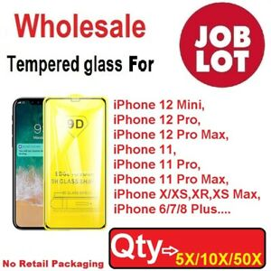 Wholesale Bulk Tempered Glass 9D Screen Protector for iPhone 11 12 Pro Max 7 8+