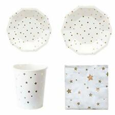 Polka Dot Sky Gold And White Foil Stars Birthday Party Tableware Paper Plates
