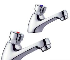 Push Button On & Auto Off Self Closing Hot & Cold Bathroom Basin Taps (1025)