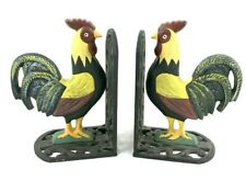 Cast Iron Rooster Bookend Set Country Lodge Kitchen Home Decor Door Stop