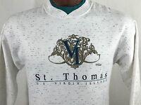 VTG St. Thomas U. S. Virgin Islands White Green V-Neck Sweatshirt Made in USA L